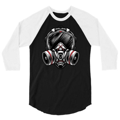 Futuristic Mecha Respirator Mask 3/4 Sleeve Shirt Designed By Tariart