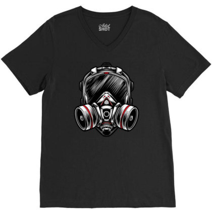 Futuristic Mecha Respirator Mask V-neck Tee Designed By Tariart