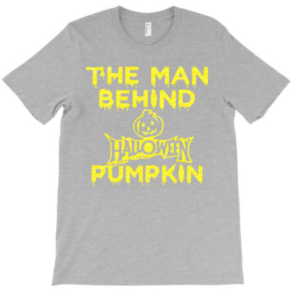 The Man Behind Halloween Pumpkin Golden T-shirt Designed By Lotus Fashion Realm