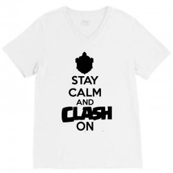 coc stay calm & clash on V-Neck Tee | Artistshot