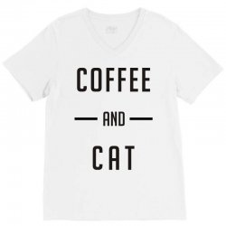 coffee and cat V-Neck Tee | Artistshot
