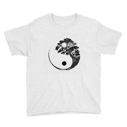 Yin Yang Bonsai Tree Japanese Buddhist Zen  T Shirt Youth Tee Designed By Shadowart