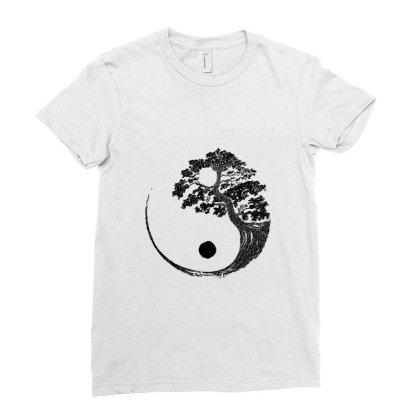 Yin Yang Bonsai Tree Japanese Buddhist Zen  T Shirt Ladies Fitted T-shirt Designed By Shadowart