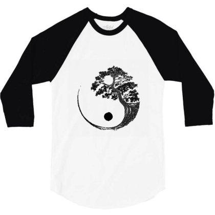 Yin Yang Bonsai Tree Japanese Buddhist Zen  T Shirt 3/4 Sleeve Shirt Designed By Shadowart