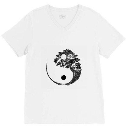 Yin Yang Bonsai Tree Japanese Buddhist Zen  T Shirt V-neck Tee Designed By Shadowart