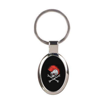 Punk Skull Mohawk Oval Keychain Designed By Tariart