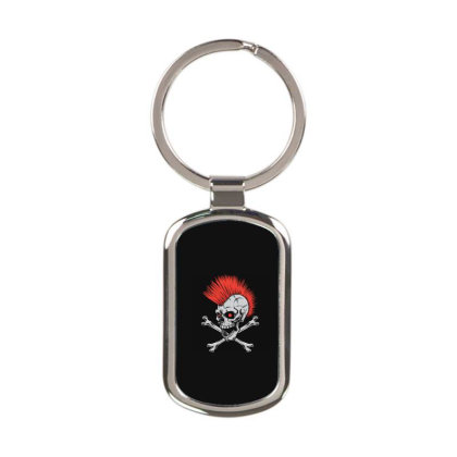 Punk Skull Mohawk Rectangle Keychain Designed By Tariart