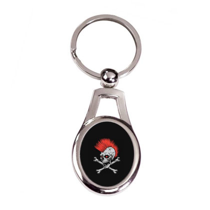 Punk Skull Mohawk Silver Oval Keychain Designed By Tariart