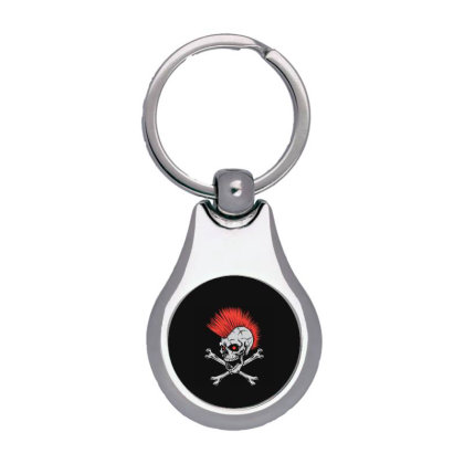 Punk Skull Mohawk Silver Pear Keychain Designed By Tariart