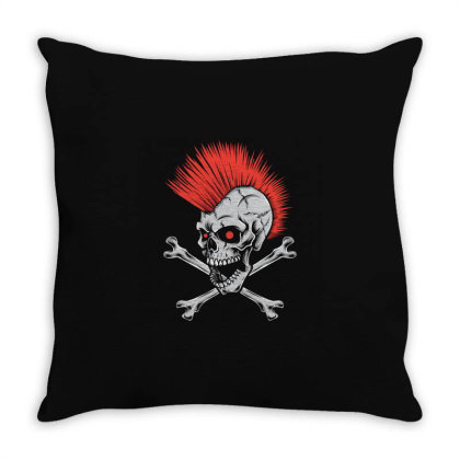Punk Skull Mohawk Throw Pillow Designed By Tariart
