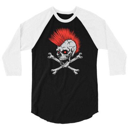 Punk Skull Mohawk 3/4 Sleeve Shirt Designed By Tariart