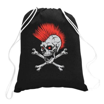 Punk Skull Mohawk Drawstring Bags Designed By Tariart