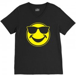 cool yellow smiley bro with sunglasses V-Neck Tee | Artistshot