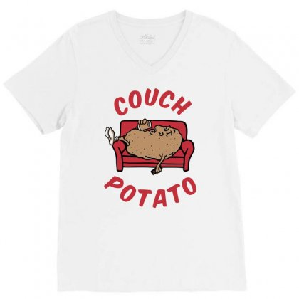 Couch Potato V-neck Tee Designed By Monstore