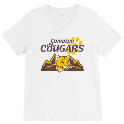 Cougar Mascot And Mountain V-neck Tee Designed By Monstore