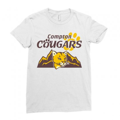 Cougar Mascot And Mountain Ladies Fitted T-shirt Designed By Monstore