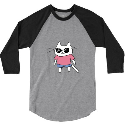 Cat Lovers Adn Cat Love 3/4 Sleeve Shirt Designed By Jior
