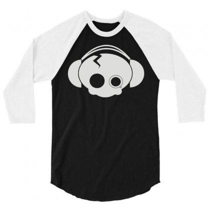 Cute Skull 3/4 Sleeve Shirt Designed By Monstore