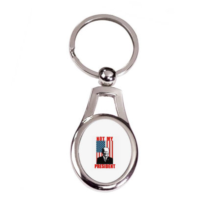Joe Biden Not My President Silver Oval Keychain Designed By Kakashop