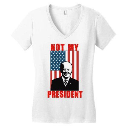 Joe Biden Not My President Women's V-neck T-shirt Designed By Kakashop