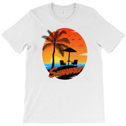 Summer Palm Tropical Beach T-shirt Designed By Jack14