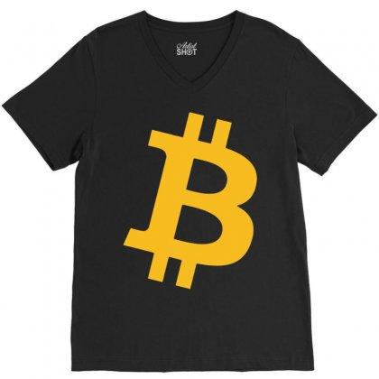 Bitcoin Logo V-neck Tee Designed By Mdk Art