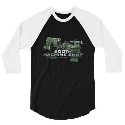 Booth Machine Shop Forrest Green (fashion Fit Tee) 3/4 Sleeve Shirt Designed By Charlesfo