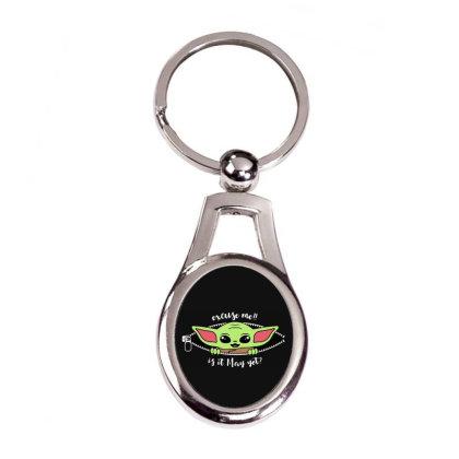 Baby Yoda Peek Silver Oval Keychain Designed By Loye771290