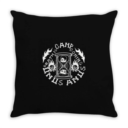 Camp Unus Annus Camping Funny Skeleton Bones Unus Fans Annus Skull Cam Throw Pillow Designed By Animestars