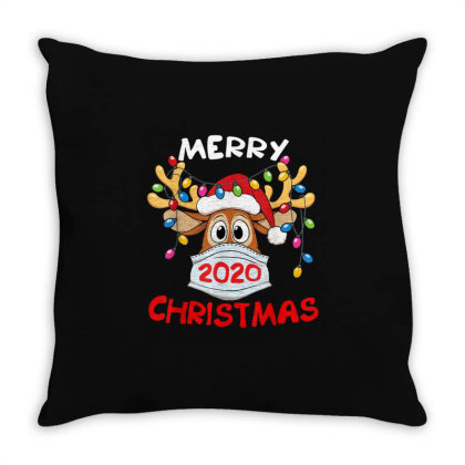 Reindeer In Mask Shirt Funny Merry Christmas 2020 Throw Pillow Designed By Conco335@gmail.com