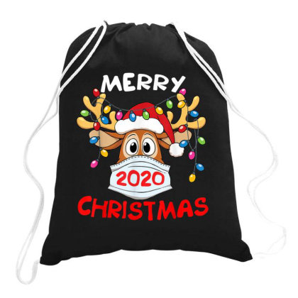 Reindeer In Mask Shirt Funny Merry Christmas 2020 Drawstring Bags Designed By Conco335@gmail.com