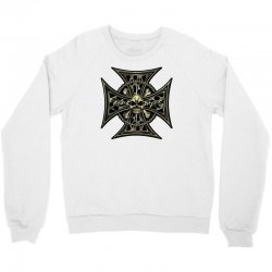 cross skull chain flames Crewneck Sweatshirt | Artistshot