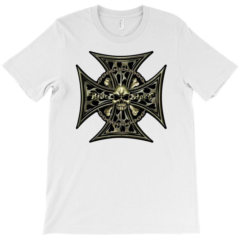 Cross Skull Chain Flames T-shirt | Artistshot