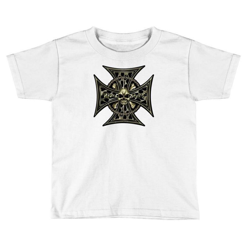 Cross Skull Chain Flames Toddler T-shirt | Artistshot