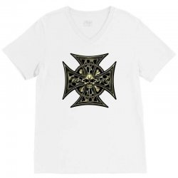 cross skull chain flames V-Neck Tee | Artistshot
