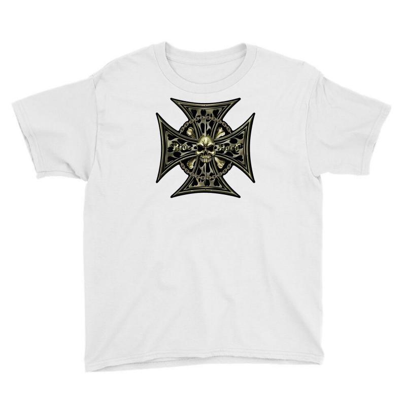 Cross Skull Chain Flames Youth Tee | Artistshot