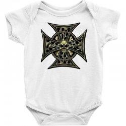 cross skull chain flames Baby Bodysuit | Artistshot