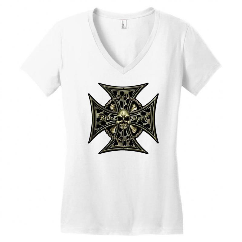 Cross Skull Chain Flames Women's V-neck T-shirt | Artistshot