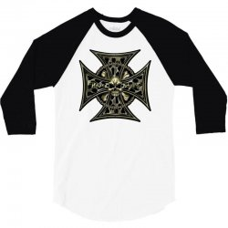 cross skull chain flames 3/4 Sleeve Shirt | Artistshot