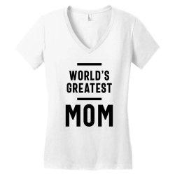Womens World's Greatest Mom | Mom Grandma Tee Gifts Women's V-Neck T-Shirt | Artistshot