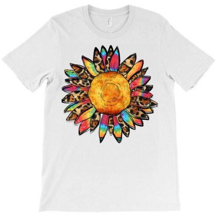 Leopard And Tie Dye Sunflower T-shirt Designed By Badaudesign