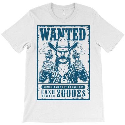 Wanted Cowboy Bandit T-shirt Designed By Designisfun
