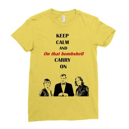 Grand Tour Keep Calm Bombshell Ladies Fitted T-shirt Designed By Mdk Art