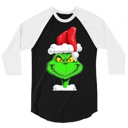 Grinch The Santa 3/4 Sleeve Shirt Designed By Mdk Art