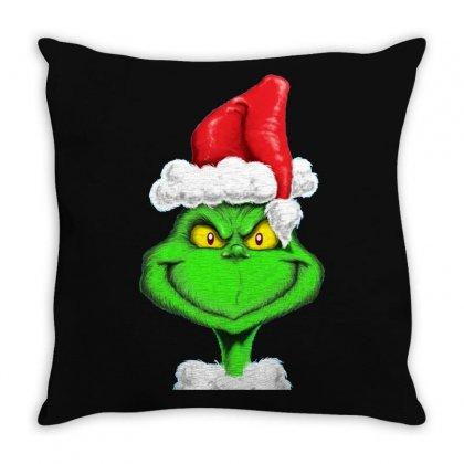 Grinch The Santa Throw Pillow Designed By Mdk Art