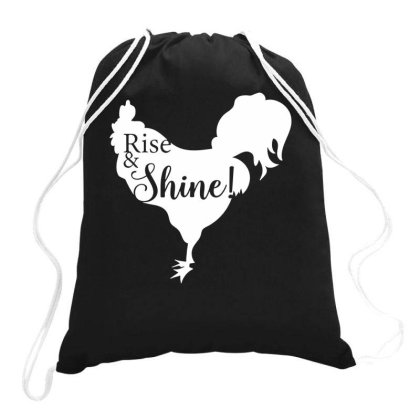 Rise And Shine! Rooster Farm Home Early Morning Drawstring Bags Designed By Ismi