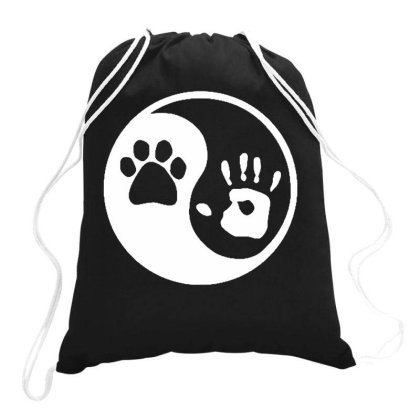 Paw Hand Print Yin Yang Dog Animal Rescue Adopted Drawstring Bags Designed By Ismi