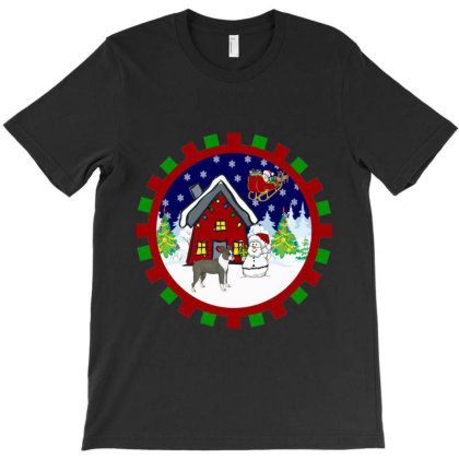 Boston Terrier Merry Christmas T-shirt Designed By Hoainv
