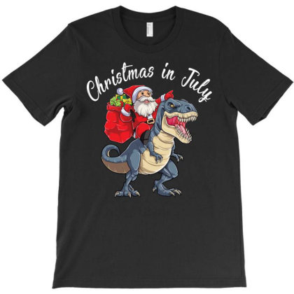 Christmas In July Santa Claus Ride The Dinosaur T-shirt Designed By Hoainv
