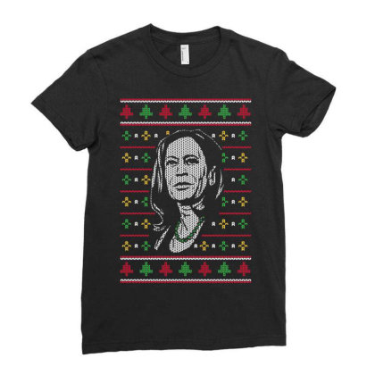 Kamala Harris Faux Knitted Christmas Ladies Fitted T-shirt Designed By Koopshawneen